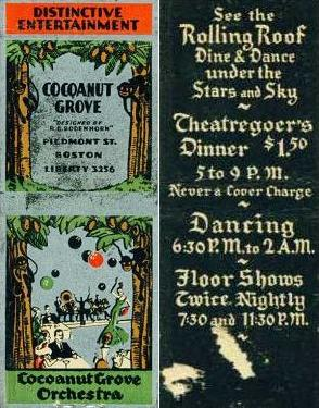 A Cocoanut Grove matchbook, outside and inside cover.