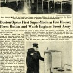 Ladderman Gilbert W. Jones inspects the new firehouse at 618 Harrison Avenue, with a South End resident, in 1941.